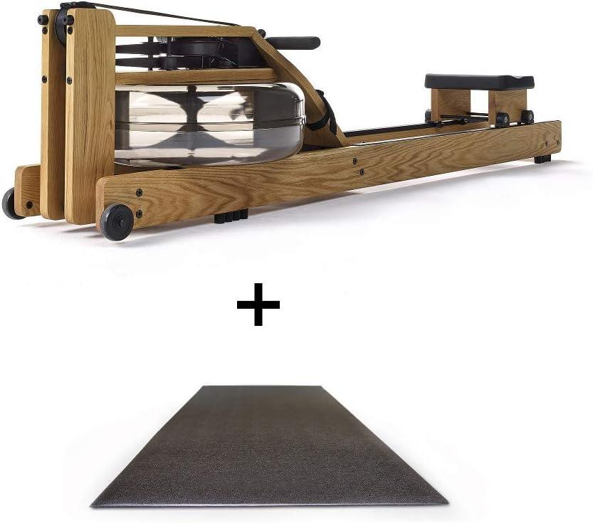 Rower Po - Máquina de Remo de Madera y Monitor S4 para casa (Incluye Esterilla de protección para el Suelo)