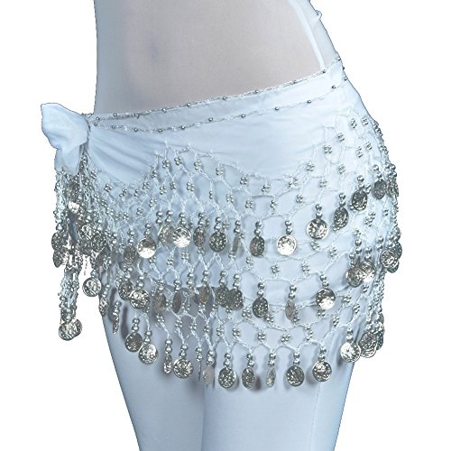Coin Dance Belly Silver - Lilyy Chiffon Dangling Silver Coins Belly Dance Hip Skirt Scarf Wrap Belt (White)