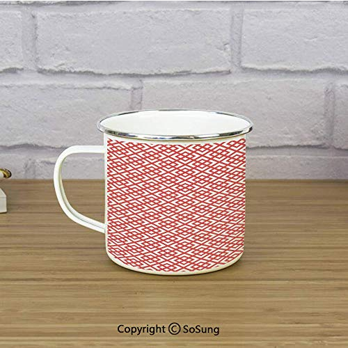 Pink Decor Enamel Coffee Mug,Square Shapes Horizontal Image with Diamond Shapes Triangles Print Decorative,11 oz Practical Cup for Kitchen, Campfire, Home, TravelDark Coral and White ()