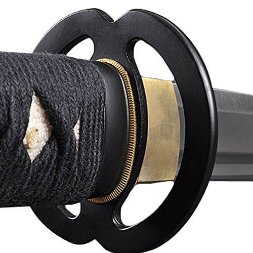 Handmade Sword Full Tang Black Scabbard Stainless Steel Unsharpened Edge Iaido Training Katana Sword, Musashi