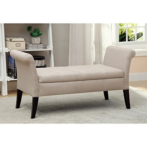 Furniture of America Alistar Fabric Upholstered Storage Accent Bench