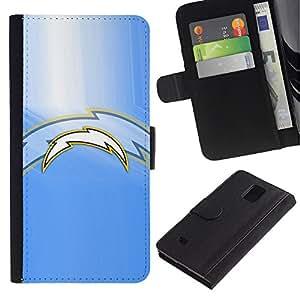 Rayo Equipo deportivo - la tarjeta de Crédito Slots PU Funda de cuero Monedero caso cubierta de piel Para Samsung Galaxy Note 4 IV