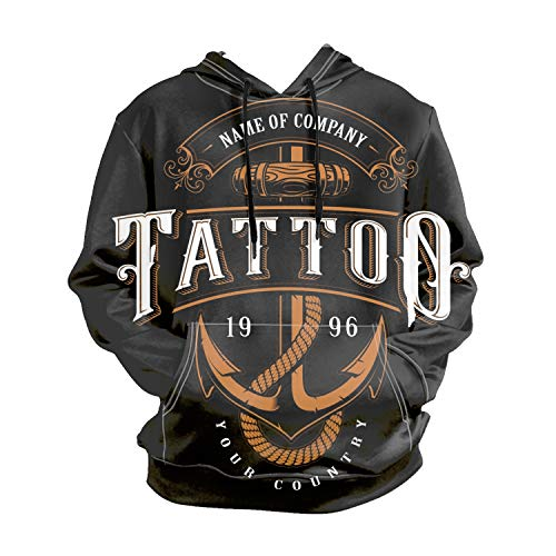 (Hooded Full Zip Hoody Tattoo Lettering with Anchor Hooded Top Hoodie Mens Size S to XX-Large)