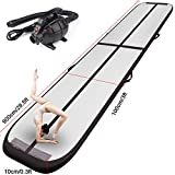 FBSPORT Inflatable Gymnastics AirTrack Tumbling Mat Air Track Floor Mats with Electric Air Pump for Home Use/Training/Cheerleading/Beach/Park and Water Length 9.8foot-(300cm) (Black, 29)
