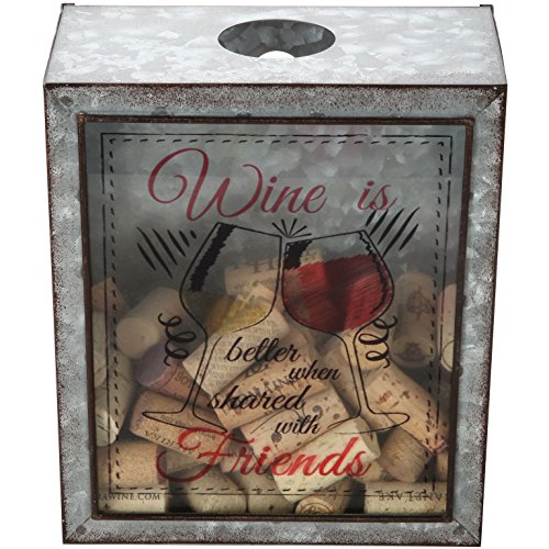 """Lily's Home Wine is Better When Shared with Friends Wine Cork Holder, Shadow Box Makes The Ideal Gift for The Happy and Hydrated Wine Lover, Galvanized Metal (7 3/8"""" x 4"""" x 8 3/4"""") from Lily's Home"""