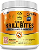 Omega 3 Krill Fish Oil for Dogs - Hip & Joint Arthritis Relief + Skin & Coat Health Supplements - With Qrill Pet Meal & DHAgold + Hemp & Astaxanthin - Brain, Heart & Immune Support - 90 Chew Treats