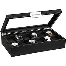 SONGMICS Mens Watch Box 12 Slots Large Luxury Carbon Fiber Display Case with Metal Buckle Black UJWB302H