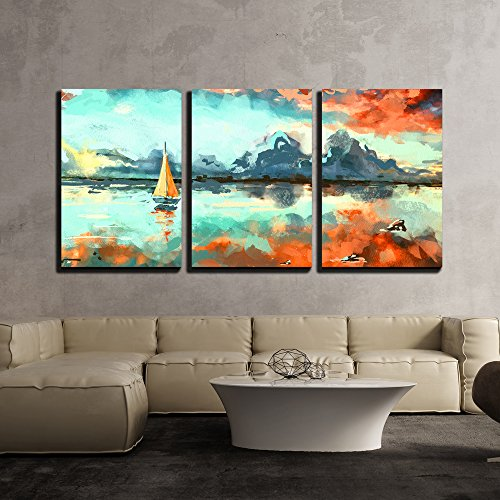 "wall26 - 3 Piece Canvas Wall Art - Digital Painting of Boat in the Ocean at Sunset. Rastr Stock Llustration - Modern Home Decor Stretched and Framed Ready to Hang - 16""x24""x3 Panels"
