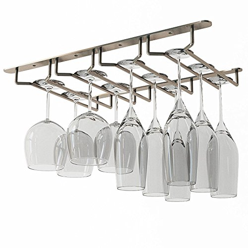Wallniture Stemware Wine Glass Rack Holder Under Cabinet Storage Oil Rubbed Finish 10 Inch Deep (Glass Cupboard The)