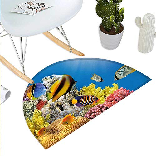 Ocean Semicircular CushionCoral Colony on a Reef Top in Red Sea Egypt Exotic Fishes Aquatic Underwater Life Entry Door Mat H 51.1
