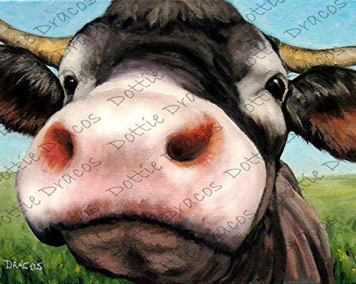 Cow Art Print, Curious Cow with very Pink Nose, on landscape background, Print of Original Painting by Dottie Dracos, Watermark NOT on your ()