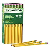 TICONDEROGA Graphite Pencils, Wood-Cased #2 HB Soft, With Eraser, Yellow, 72-Pack (33904)