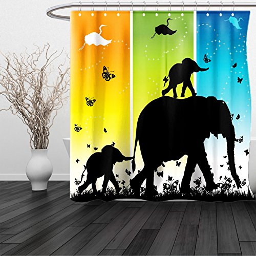 HAIXIA Shower Curtain Zoo Magical Fantastic Colorful Nature Abstraction Elephant Butterflies Birds Rural Safari Multicolor (Halloween Miami Zoo)