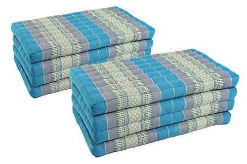 Pack: 2x 4-Fold Mattress (79x32inches), Traditional Thai Design SkyBlues, (100% Kapok filling) by Handelsturm