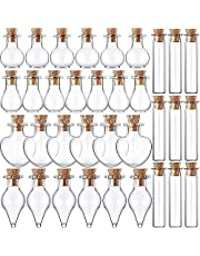 Goodypai 50 Pieces Small Glass Jars Bottles with Cork Stoppers 5 Shapes Tiny Wishing Drifting Bottle Crafts DIY Projects