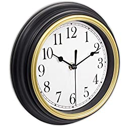 45Min 9-Inch Retro Wall Clock, Silent Non-Ticking Round Home Decor Wall Clock with Arabic Numerals