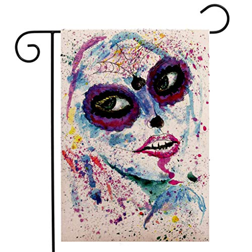 BEIVIVI Creative Home Garden Flag Girls Grunge Halloween Lady with Sugar Skull Make Up Creepy Dead Face Gothic Woman Artsy Blue Purple Welcome House Flag for Patio Lawn Outdoor Home Decor