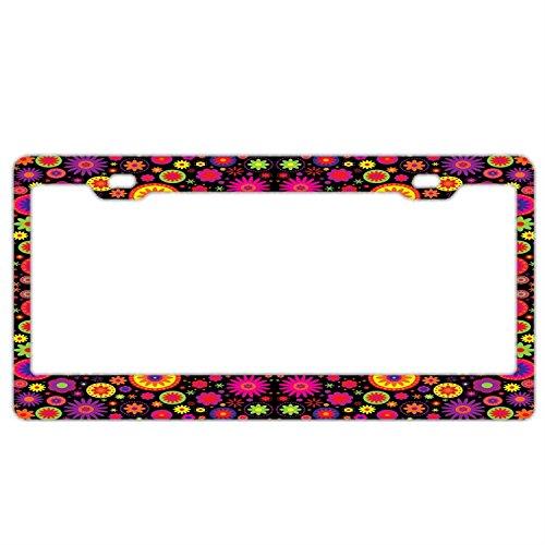 (Hippie Rainbow Flower License Plate Frame Car Tag Holder Stainless Steel Metal License Plate Frame Humor)