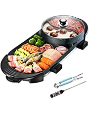 CLORIS Electric 2 in 1 Hot Pot and Grill with BBQ Thermometer Set, Smokeless Korean Barbecue Hotpot with Grill Combo Pan Non-Stick Shabu Shabu, 28in For Food Party