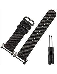 Welcomeuni FASHION 24MM Nylon Watch Band Strap 3 Ring Lugs + Adapters For Suunto Core (BK)