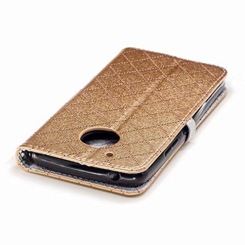 Yiizy Motorola Moto G5 Custodia Cover, Amare Design Sottile Flip Portafoglio PU Pelle Cuoio Copertura Shell Case Slot Schede Cavalletto Stile Libro Bumper Protettivo Borsa (Dorato)