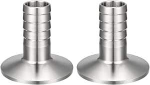 uxcell 2 Pcs Sanitary Fitting 1.99-inch Clamp to 3/4-inch Hose Barbed Adapter Pipe Coupling