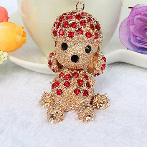 Hooshion® Lovely Fashion Diamond Crystal Rhinestone Keychain Key Chain Purse Handbag Bag Decoration Gift (Poodle (Red Poodle)
