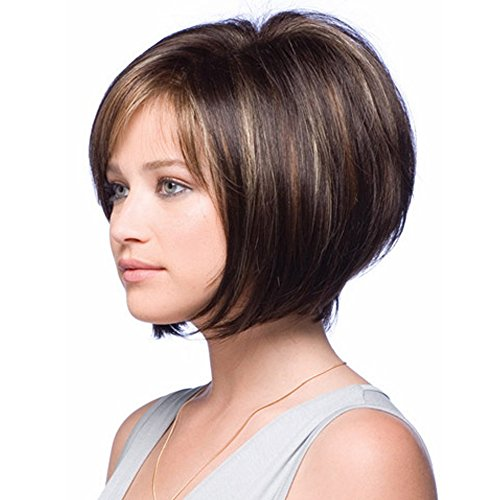 MILISI Wigs for White Women Short Straight Wig Brown Bob Style Synthetic Full Wig Natural Daily Party Hair Wigs with Wig Cap (Brown Mixed) MLS037