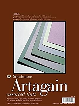 Strathmore 400 Series Artagain Pad, Assorted Tints, 9x12 Glue Bound, 24 Sheets 9x12 Glue Bound Strathmore Artist Papers 445-9