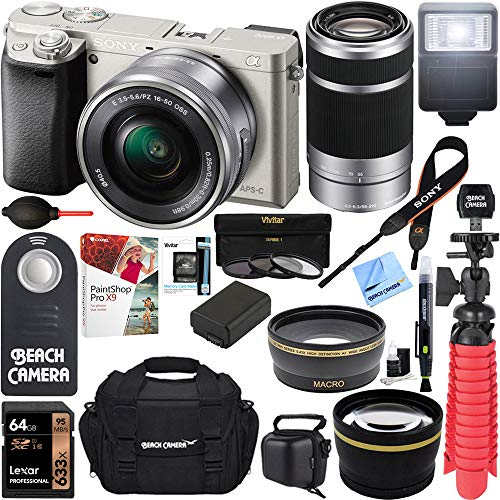 Sony Alpha a6000 24MP Mirrorless Camera 16-50mm & 55-210mm Zoom Lens (Silver) + 64GB Accessory Bundle + Deluxe Gadget Bag + Extra Battery + Wide Angle Lens + 2x Telephoto Lens + Flash + Remote +Tripod ()