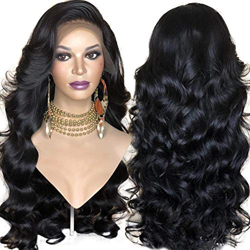 RDY Long Body Wave Black Synthetic Wigs for Black Women Heat Resistant Fiber Hair 24Inch Side Part Lace Front Wig Daily Wear Beauty Look Wig Soft Swiss Lace