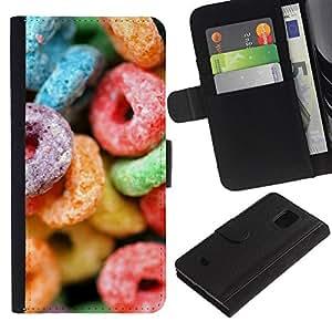 Planetar® Modelo colorido cuero carpeta tirón caso cubierta piel Holster Funda protección Para Samsung Galaxy S5 Mini / SM-G800 (Not For S5!!!) ( El azúcar de caramelo dulces colorido de neón de goma )