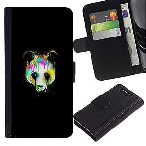 LECELL--Cuero de la tarjeta la carpeta del tirón Smartphone Slots Protección Holder For Sony Xperia Z3 Compact -- Psychedelic Panda Graffity --