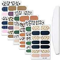 WOKOTO 6 Sheets Adhesive Nail Art Polish Stickers With 1Pc Nail File Leopard Print Nail Wraps Decal Strips Manicure Decoration For Women