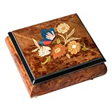 Olmo Butterfly Flower Italian Hand Crafted Inlaid Glossy Elm Wood Musical Box Plays Tune Bolero