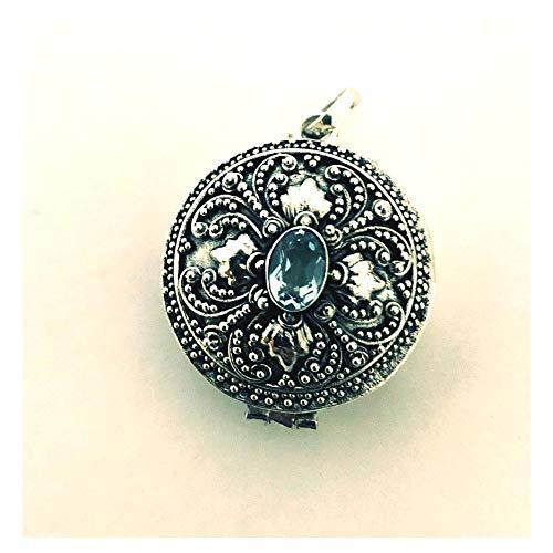 - Light Blue Topaz Locket Sterling Silver Keep Sake Pendant Necklace PL11