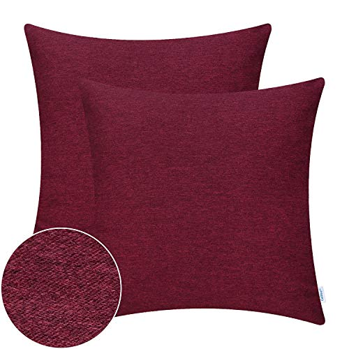 CaliTime Pack of 2 High Class Comfy Throw Pillow Covers Cases for Couch Sofa Bed Bedding Thick Two Tone Texture Both Sides 18 X 18 Inches Burgundy