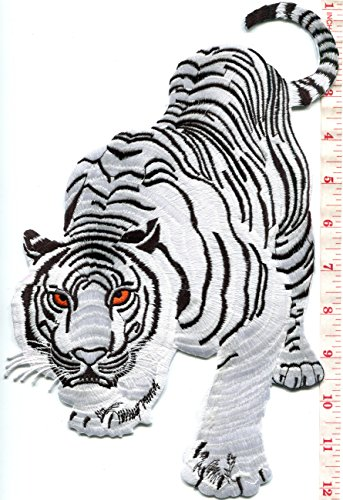Huge Tiger - Bengal white tiger tattoo embroidered applique iron-on patch HUGE XL 7.25 X 11.25 in. S-1222