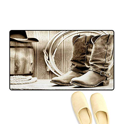 (Bath Mat,Traditional Rodeo Supplies with Roper Boots in Vintage Nostalgic Wild Photo,Door Mat Increase,Black and White,24