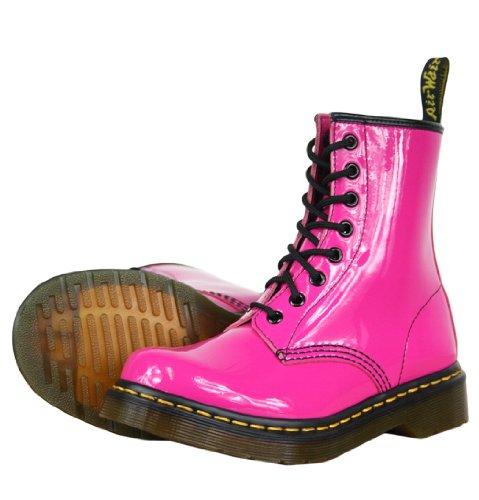 Dr Martens Patent Lamper 1460W Damen Stiefel, Schwarz / Weiß / Rot oder Pink