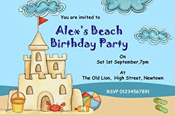 10 X Personalised Beach Sandcastle Pool Theme Birthday Party Invitations Amazoncouk Office Products