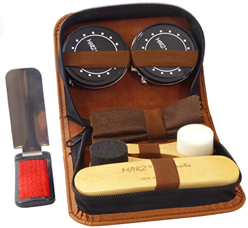Deluxe Shoe Care Kit - Genuine 100% Horsehair Brush, 2 Durable Applicator Sponges, 2 Full-Size Tins of Black & Neutral Polish (45g each), Shoehorn/Suit Brush, Buffing/Shining Cloth, PU Leather Case (Small Shoe Shine Kit)