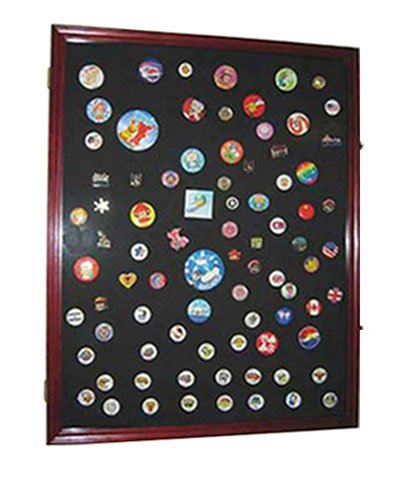 XL Military Medals, Pins, Patches, Insignia, Ribbons Display Case Wall Frame Cabinet PC05 (Cherry Finish)