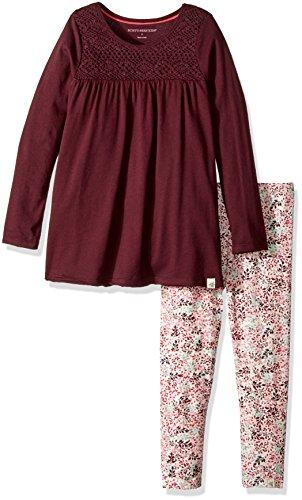 Burt's Bees Kids Girls' Organic Crochet Tee and Legging Set, Deep Autumn, 2 Toddler