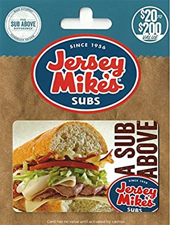 amazon com jersey mike s gift card 50 gift cards