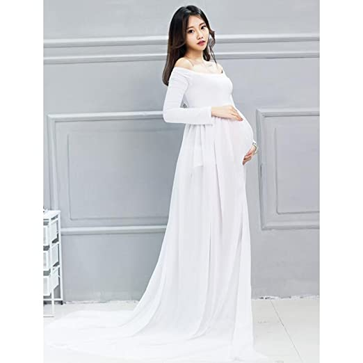Gazechimp Ropa de Disfraz Gasa de Manga Larga Accesorios de Fotografía Mujeres Embarazadas - Blanco, Un tamaño: Amazon.es: Bebé