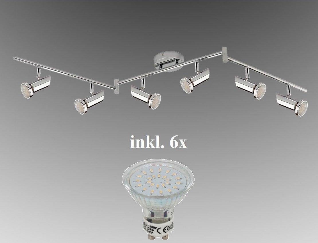 Trango 6-flg. LED Deckenleuchte 165cm TG 2000-068B inkl. 6x LED GU10 ...