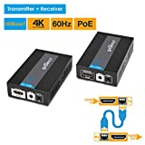 gofanco HDMI Extender 4K 60Hz HDBaseT Ultra HD over CAT5e/CAT6/CAT7 Ethernet cable with Bi-directional IR, POE Up to 70 meters (230 feet) @ 1080p 60Hz 40 meters (130 feet) @ UHD 4K 60Hz, HDCP 2.2