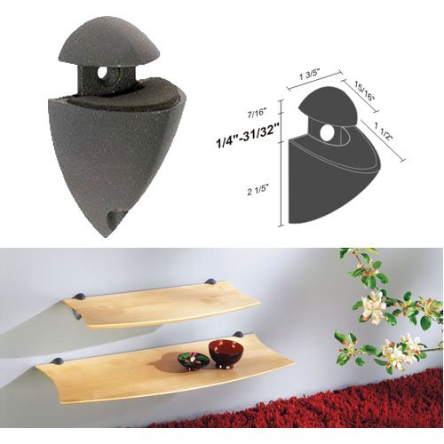 Dolle Splash Anthracite Adjustable Glass or Wood Shelf Bracket - One Bracket Per Package