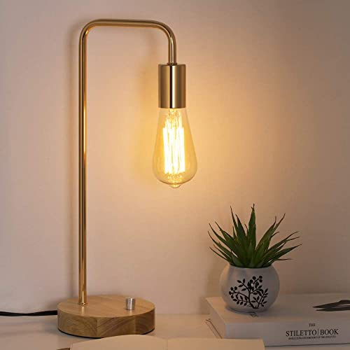 HAITRAL Industrial Desk Lamp – Stylish Wooden Table Lamp with Gold Frame Simple Nightstand Task Lamps for Bedrooms, Office – Without Bulbs HT-TH71-16